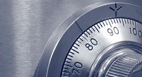 Draaislot van een kluis voor huisbeveiliging in close-up – GW Security Group